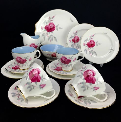 Royal Albert Charmaine Tea Set / Trio / For 4 People / Vintage / Blue / Pink